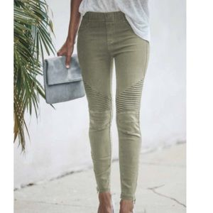 Olive Green Cropped Moto Jeggings